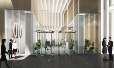 A rendering of the new lobby of Tower 45 at 120 West 45th Street (Rendering: Kohn Pederson Fox).