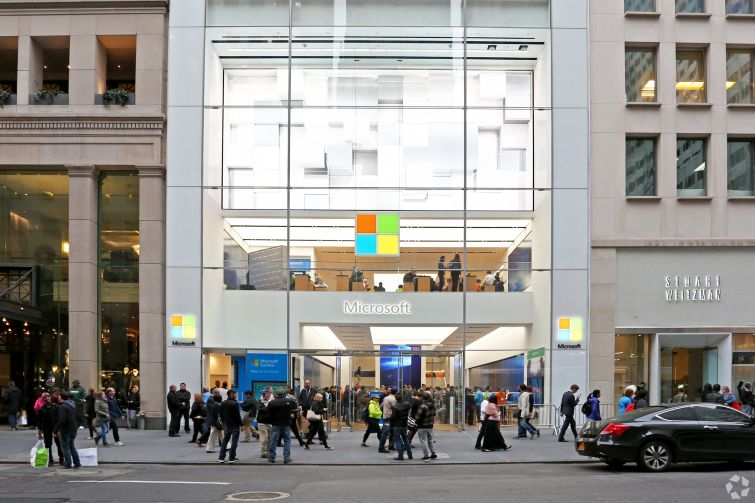 J.T. Magen & Company completed Microsoft's flagship retail store at 677 Fifth Avenue last year (Photo: CoStar Group).