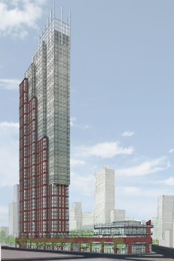 New Line Structures is is building the mixed-use tower at 333 Schermerhorn Street in Brooklyn, which will briefly hold the title of tallest tower in the borough (Photo: CoStar Group).