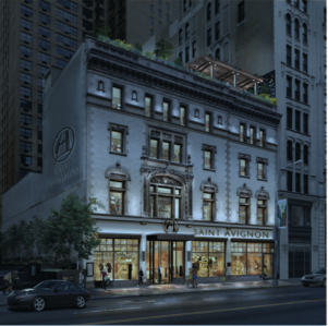 A rendering of an upgraded 218-222 West 57th Street (Rendering: marketing material by GGP and Thor).