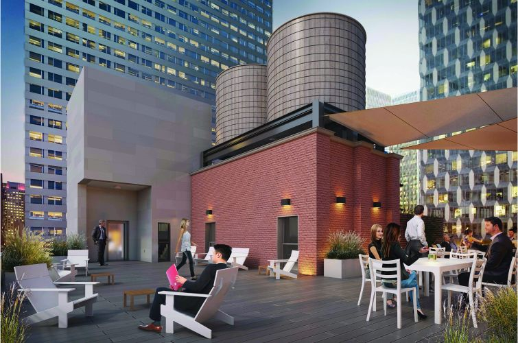 The new roof deck lounge of 45 West 45th Street (Rendering: Spivak Architects).