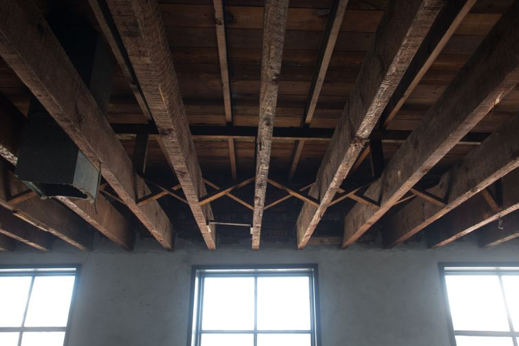 Landlord Bushwack Capital will leave the exposed wood ceilings on the second floor (Photo: Aaron Adler/ for Commercial Observer).