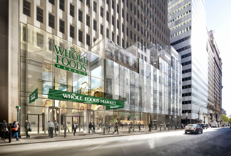 Rendering of Whole Foods at One Wall Street (Image: DBOX for Macklowe Properties).