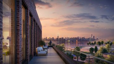 A rendering of the terrace at 25 Kent Avenue (Courtesy: Rubenstein Partners).