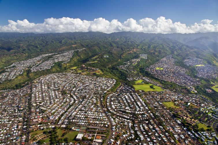 An aerial view of Pearl City on the island of Oahu in Hawaii (Photo: Getty Images).