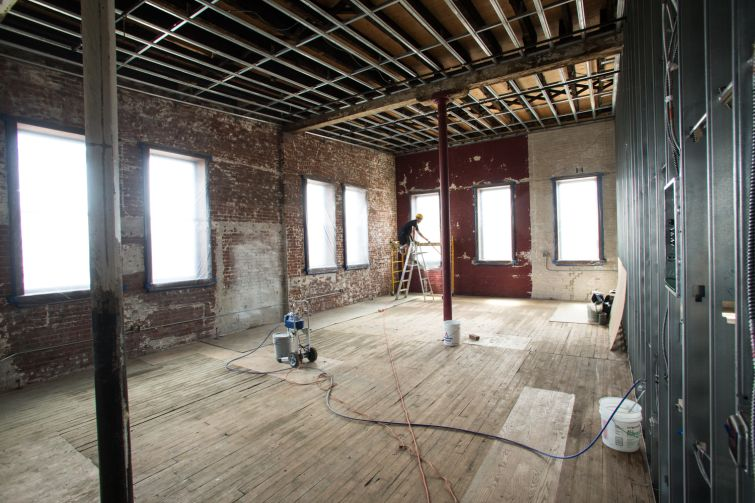 The third floor features a unit with more than 20-foot ceiling heights (Photo: Aaron Adler /for Commercial Observer).
