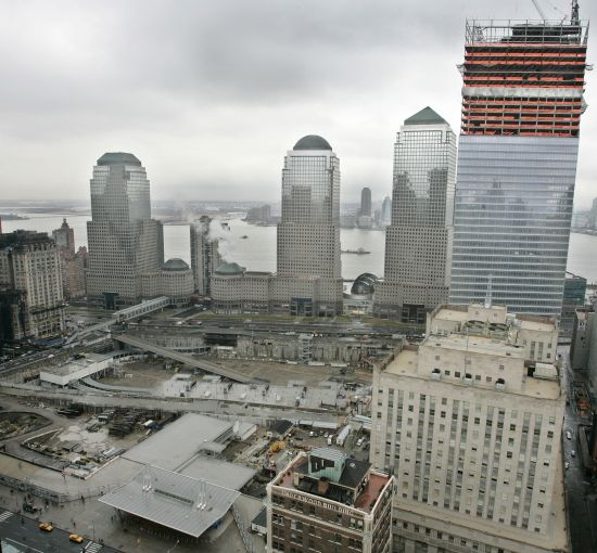 Work underway in 2005 on 7 World Trade Center, the first building to be reconstructed at the site of the 2001 World Trade Center terrorist attacks Photo: Stephen Chernin/Getty Images).