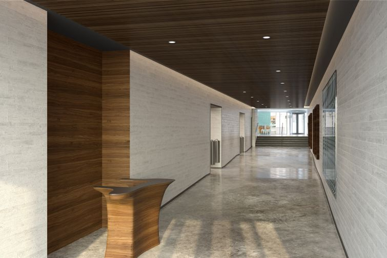 The renovated lobby with walnut ceilings and an interactive artwork on the wall. Rendering: Wordsearch River Film