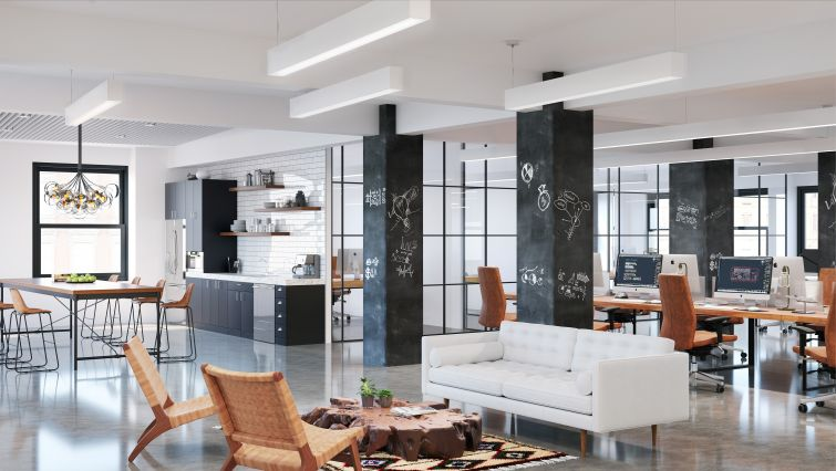 New prebuilt offices at 30 Broad Street will be outfitted with polished concrete floors, slimmer columns, exposed ceilings and contemporary furniture. Rendering: Wordsearch River Film