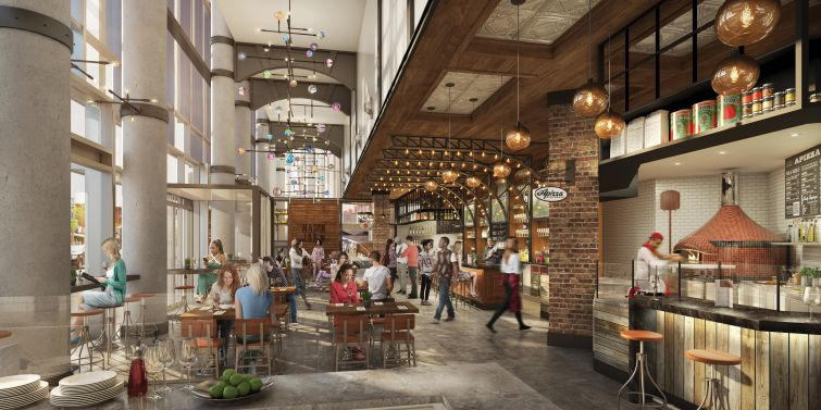 Rendering of Gotham Market at The Ashland in Fort Greene, Brooklyn.