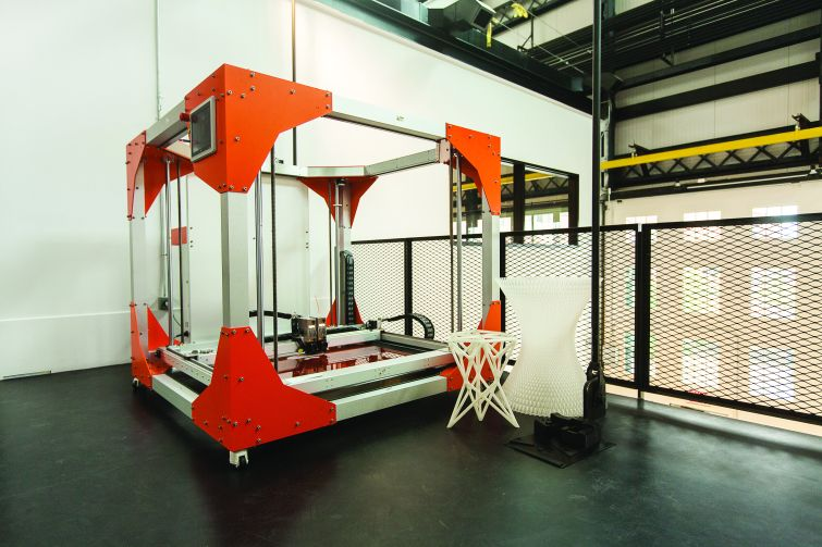 The 6-by-6-foot 3D printer on the mezzanine level of New Lab. Photo: Emily Assiran/Commercial Observer