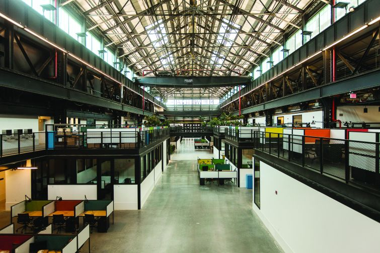 A view of the ground and mezzanine levels at New Lab in the Brooklyn Navy Yard. Photo: Emily Assiran/Commercial Observer