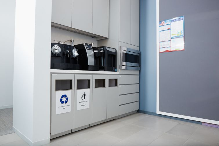 Recycling is a huge factor in this office, that's why it's clearly marked in the pantry. Photo: Yvonne Albinowski/For Commercial Observer