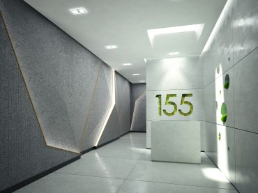 A rendering of the lobby of 155 West 23rd Street, which will feature an artificial skylight.