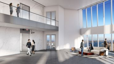 A rendering of the sky lobby on the 64th floor, where upper-floor tenants switch elevators.