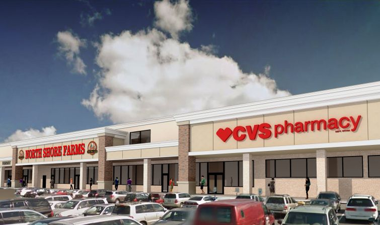 A rendering of North Shore Farms and CVS/pharmacy at 153-01 10th Avenue.
