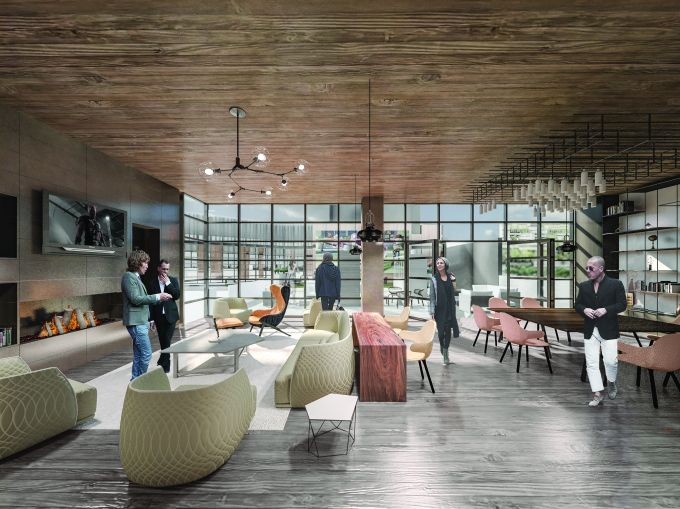 The lounge at 44-28 Purves Street in Long Island City. Rendering: FXFOWLE.