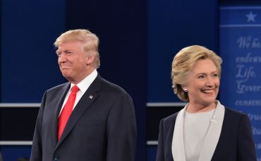 Donald Trump and  Hillary Clinton at the second presidential debate. Photo: MANDEL NGAN/AFP/Getty Images