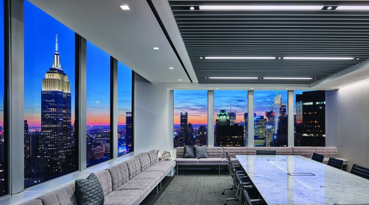 A night time view of the city from Polsinelli's conference room. Photo: Polsinelli.