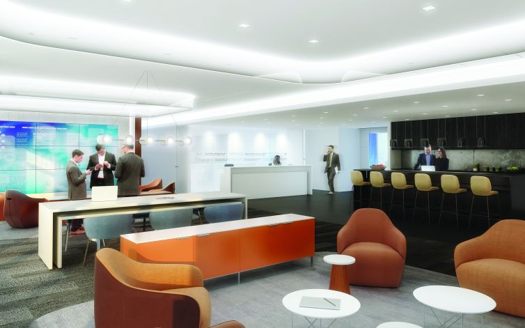 A rendering of Thomson Reuters' new customer center on the 30th floor of 3 Times Square. Rendering: Perkins+Will.