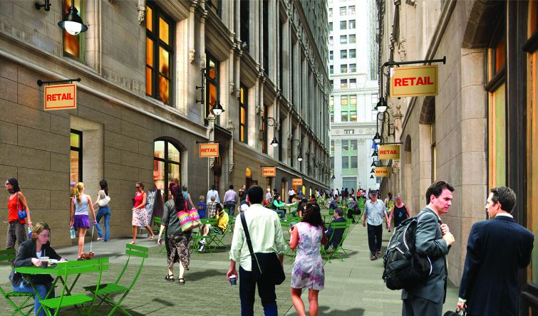 A rendering of Thames Street, which runs between 111 and 115 Broadway.
