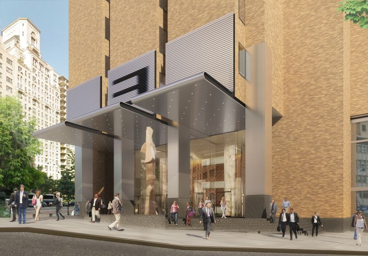 A rendering of the new canopies and columns being installed at 3 Park Avenue. Photo: Cohen Brothers Realty Corporation.
