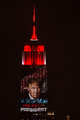 CNN projects the 2016 Presidential Election results on the Empire State Building. Courtesy: Empire State Realty Trust.