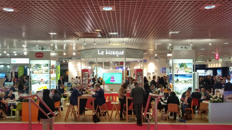 A scenic shot of the booths at MAPIC, where more than 8,000 people attended. Photo: Lauren Elkies Schram.