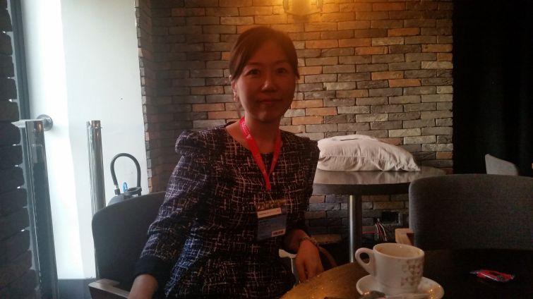Helen Hwang of Meridian Investment Sales at MAPIC. Photo: Lauren Elkies Schram.