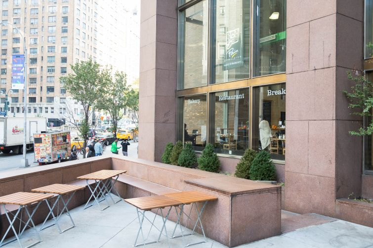 The outdoor seating area at 3 Park Avenue with be updated as well. Photo: Kaitlyn Flannagan/ Commercial Observer.