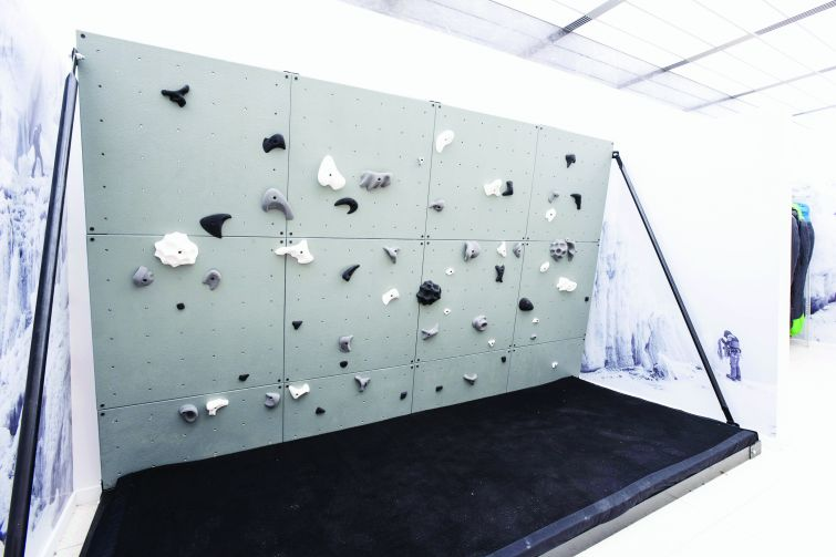 The 10-foot climbing wall at The North Face's new flagship store. Photo by Eugene Gologursky/Getty Images for The North Face.