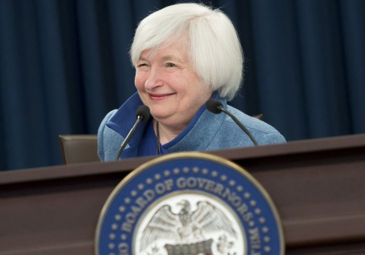 Federal Reserve Chair Janet Yellen speaks during a press conference following the announcement that the Fed will raise interest rates, in Washington, D.C., today. Photo: SAUL LOEB/AFP/Getty Images