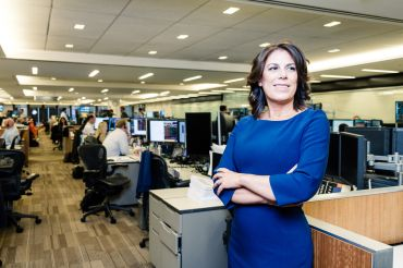 Kara McShane on Wells Fargo's trading floor at 375 Park Avenue. Photo credit: Chris Sorenson.