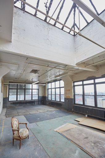A skylit space on the 8th floor of The Bruckner Building. Photo: Harry Zernike/ for Commercial Observer.