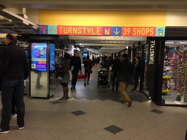 Turnstyle, underground at Columbus Circle. Photo: Linda Alexander