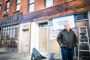 Landlord Michael Pintchik stands in front of 214 Flatbush Avenue, which will become the home of Snowdays, a new dessert concept featuring shaved cream.