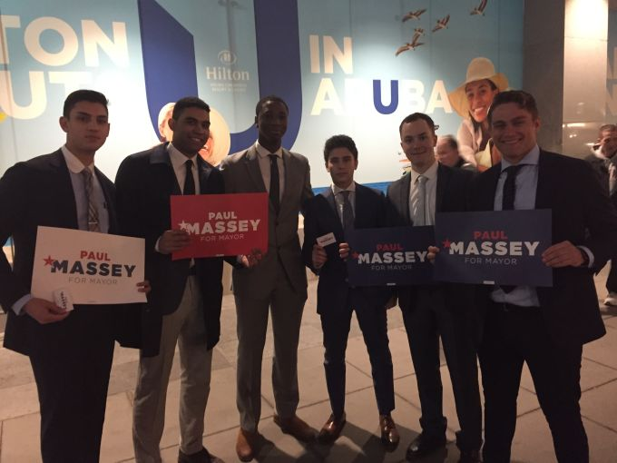 Paul Massey supporters in front the New York Hilton Photo: Max Gross.