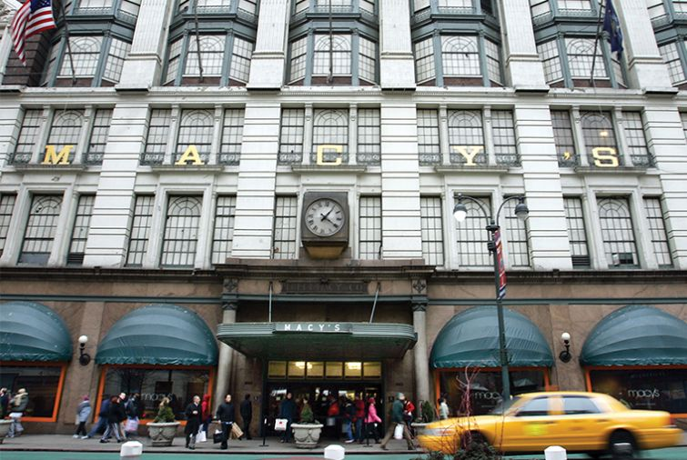 Retail rents have dropped dramatically in Herald Square, which is home to iconic flagship stores like Macy's. Photo: Stephen Chernin/ for Getty Images