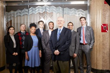 FIGURES' EIGHT: From left: Sunny Velez, Brian Klimas, Pamela Choy, Max Haight, Ryan Baxter, Mike Slattery, Paimann Lodhi, and Sam Levy of REBNY. Photo: Yvonne Albinowski/for Commercial Observer