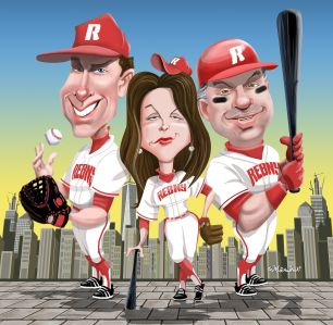 Jed Walentas, MaryAnne Gilmartin and Marc Holliday. Illustration: Ed Murawinski