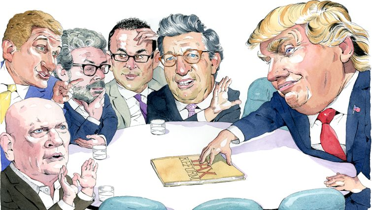 Clockwise from bottom left: Jeffrey DeBoer, Rob Speyer, Anthony Malkin, Jeff Blau, William Rudin and Donald Trump. Illustration: Paul Kisselev.