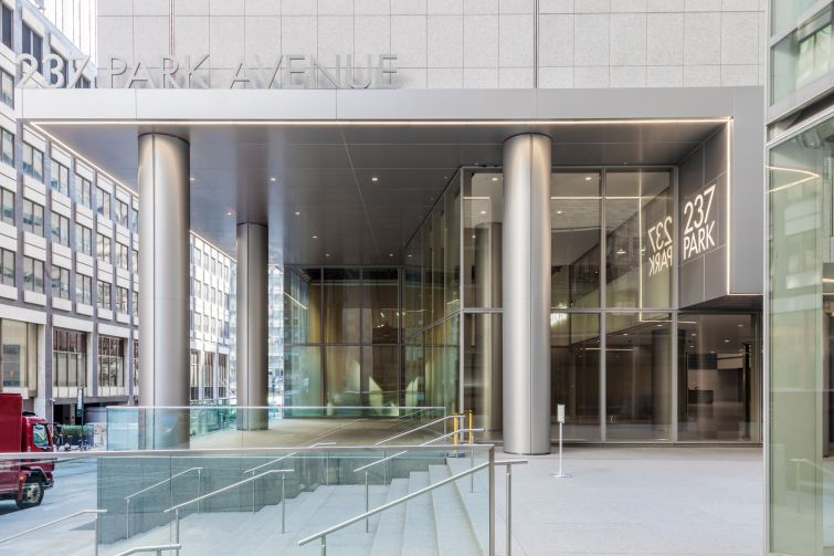 A rendering of the entrance to 237 Park Avenue. Courtesy: RXR Realty.