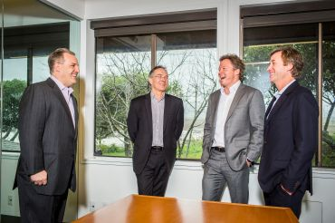 From left to right, Chris Tokarski, Stew Ward, Warren de Haan and Boyd Fellows, the co-founders of ACORE Capital, on Feb. 9, 2017 in their Larkspur, Calif. offices. Photo: Eric Kayne