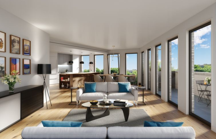 A rendering of the completed living space of a unit at 280 St. Marks Avenue. Rendering: DXA Studio