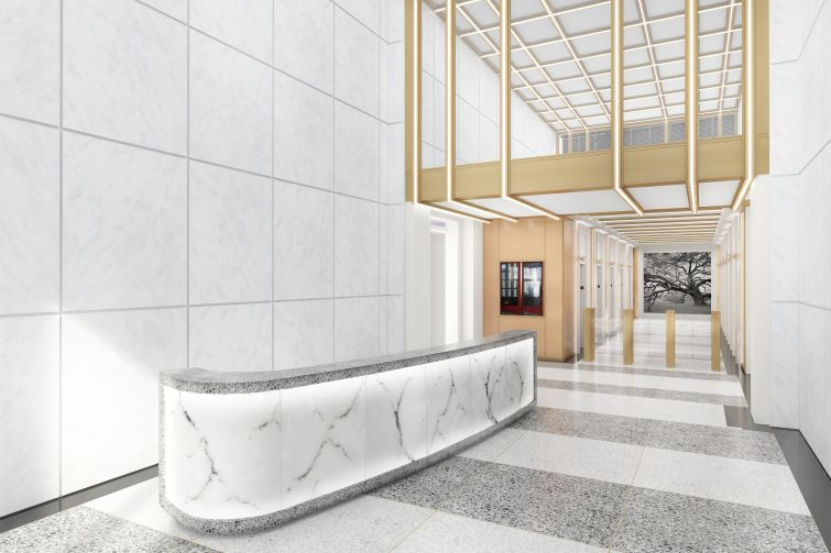 A rendering of 450 Seventh Avenue's new lobby. Photo: Kaufman Organization.