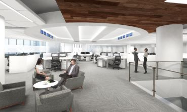 The new office will be an open plan with workstations on the exterior of space. Rendering: Spector Group