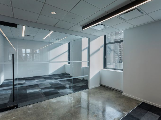 Private glassed offices only makeup about 4 percent of the office at 5 Penn Plaza. Photo: Sasha Maslov/For Commercial Observer