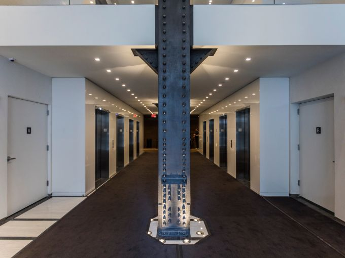 Stripped steel columns at 5 Penn Plaza. Photo: Sasha Maslov/For Commercial Observer