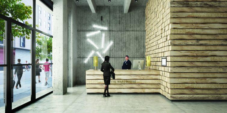 The lobby designed by Morris Adjmi.