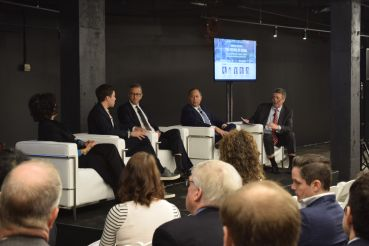 Susan Fine, Ryan Engel, Gene Spiegelman, and Jonathan Mechanic discuss the future of retail at yesterday's event.
